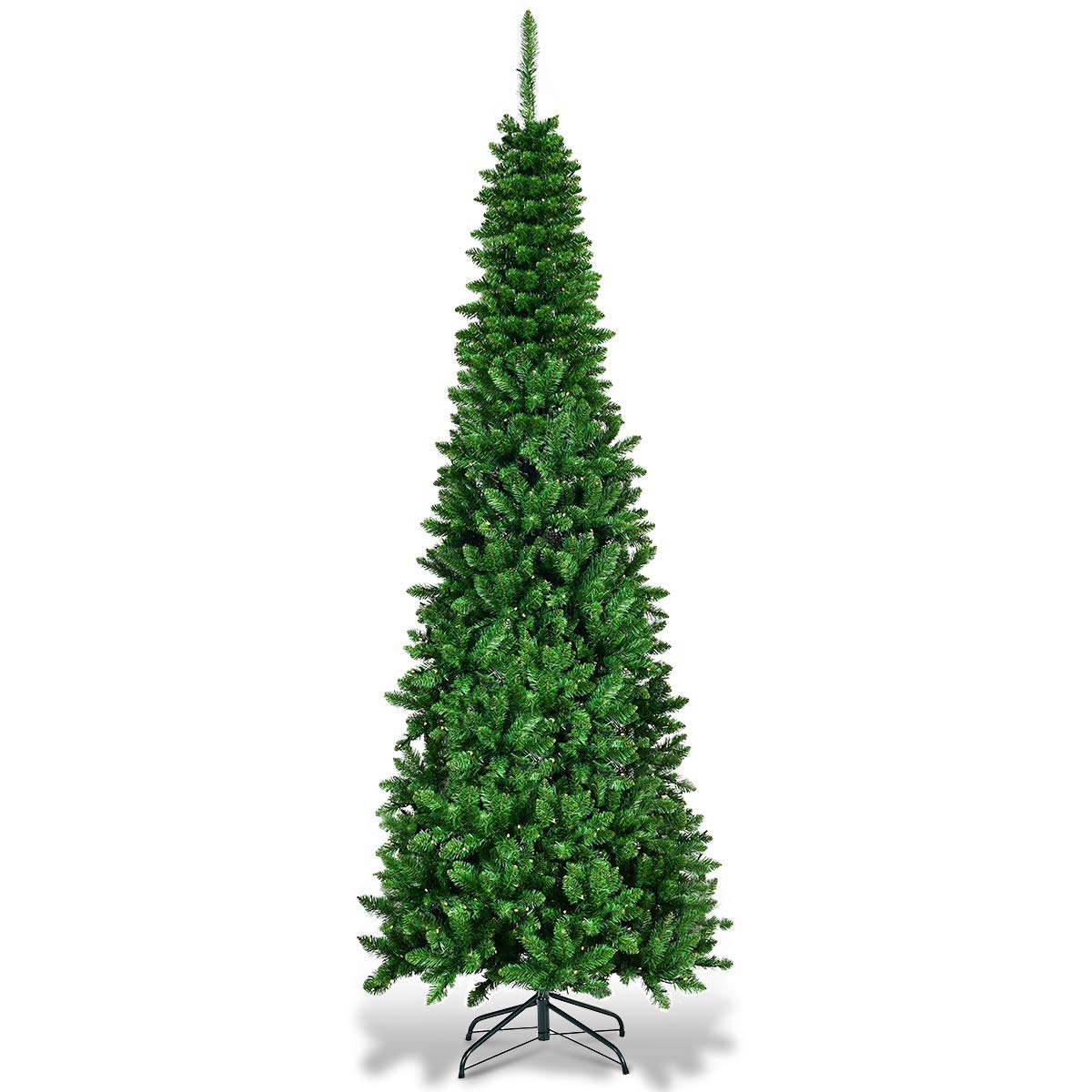Goplus 7.5ft Prelit Pencil Christmas Tree, Premium Hinged Fir Tree, with LED Lights and Solid Metal Stand, Easy Assemble, Ideal Artificial Xmas Tree for Home and Office, Warm White LED