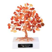 """CrystalTears Personalized Mini Red Agate Healing Crystal Money Tree Handmade Copper Wire Wrapped Tumbled Gemstone Tree Feng Shui Ornaments for Good Luck Birthday Gift Home Decor 3.5""""-4.7"""""""