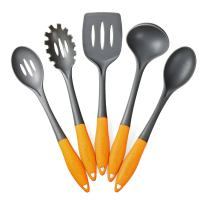 Deiss Art 5-Piece Nylon Utensil Set — Soup Ladle, Slotted Turner, Spaghetti Server, Serving Spoon, Slotted Serving Spoon — Safe for Non-Stick Cookware