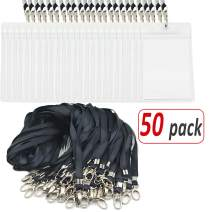 Aobear 50 pcs Top Quality Waterproof Transparent Vertical Name Tag id Badges and 50 pcs Black Lanyard