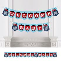 Big Dot of Happiness Railroad Party Crossing - Steam Train Baby Shower Bunting Banner - Party Decorations - Welcome Baby