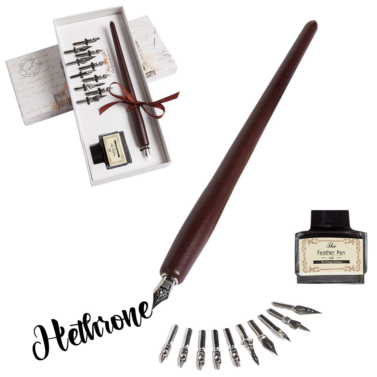 Hethrone Calligraphy Pen Set Fountain Dip Pen and Ink Writing Pen with 11 Nibs and Black Ink Calligraphy Set for Beginners Perfect Gift