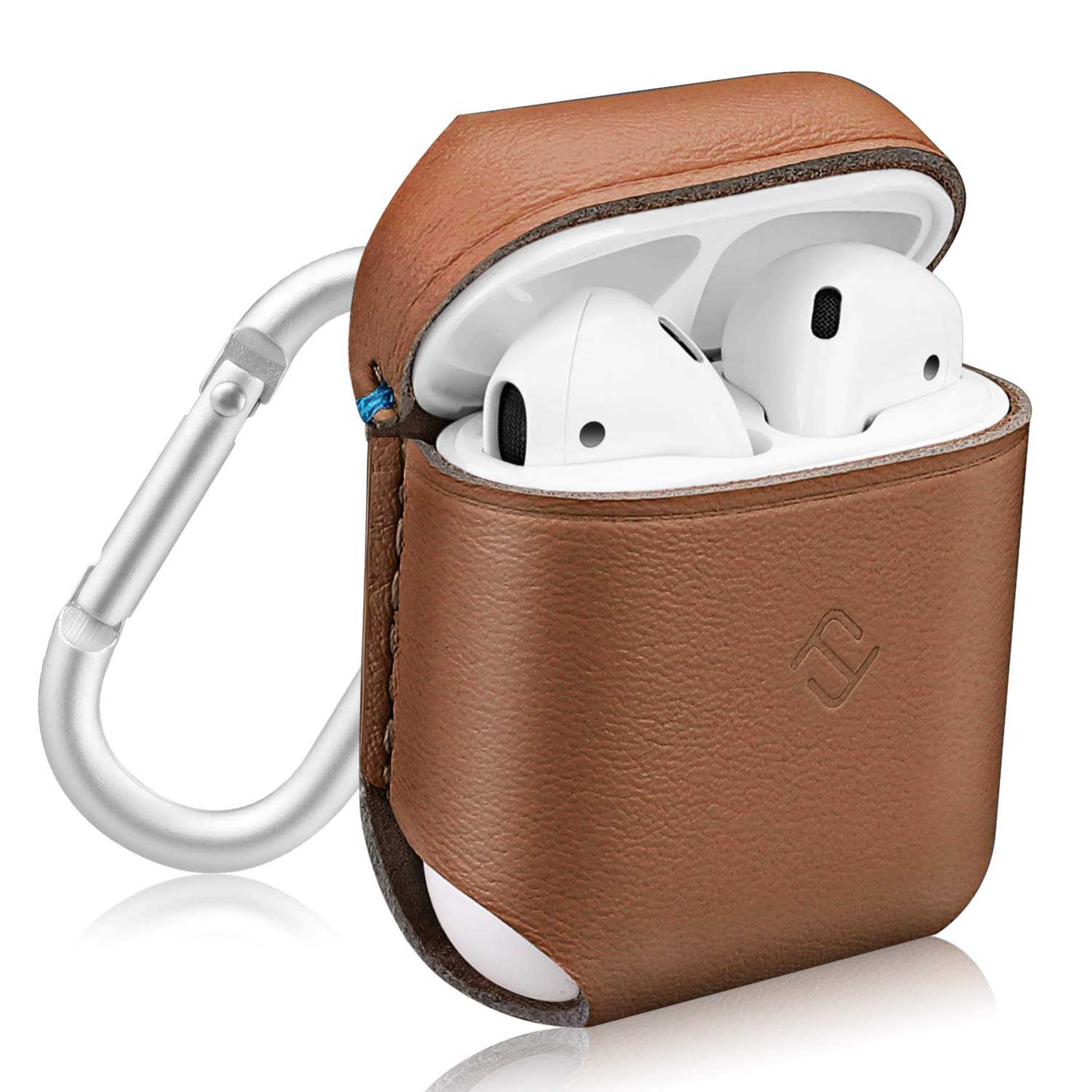 Fintie Genuine Leather Case for AirPods, Slim Fit Protective Cover Skin with Carabiner for AirPods 1 and AirPods 2 Charging Case, Brown