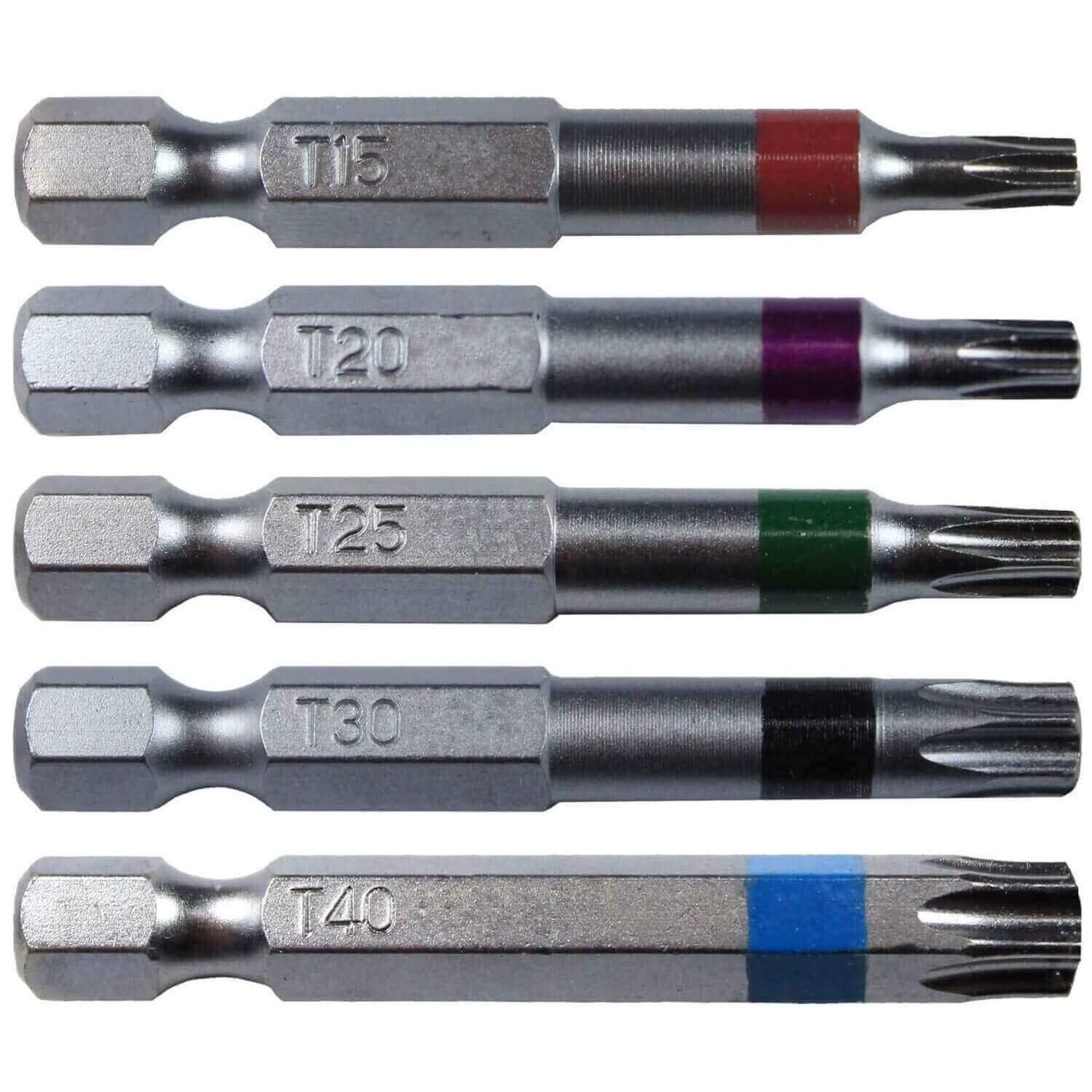 "Torx/Star Drive 5 Piece Bit Set 2"" Quick Change Shank (Color Coded) Includes T-15, T-20, T-25, T-30, T-40 Torx/Star Screw Driver Bits"