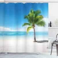 "Ambesonne Landscape Shower Curtain, Caribbean Maldives Beach Island Sea Ocean Palm Trees Artwork Print, Cloth Fabric Bathroom Decor Set with Hooks, 70"" Long, Sky Blue"