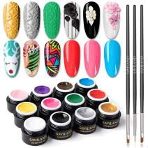 Saviland 12 Colors 3 in 1 Gel Art Paint for Nails with 3pcs Brush Pens,6ml/pcs Cable Knit Sweater Nail with 3D Embossed Gel Nail Polish, Carve Gel Set for Flowers Animals Design(Red White Black.)