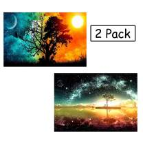 WIZLAND 2 Pack 5D DIY Diamond Painting Full Drill Round Resin Beads Pictures Paintings Pictures Arts Craft for Home Wall Decor(The Tree of The Eternal)