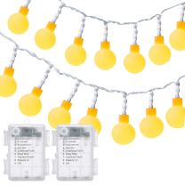 DecorNova Globe String Lights, 16.4 Feet 50 LED Battery Operated Fairy Lights with 3 AA Battery Case, Remote & 8 Modes for Christmas Party Bedroom Wedding Decorations, Warm White (Set of 2)
