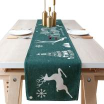InnoBeta Christmas Table Runner, Christmas Decorations, Dresser Scarf, Table Decor, Ideal for Christmas Party, Living Room & Dinning Room, Green, 79 inches