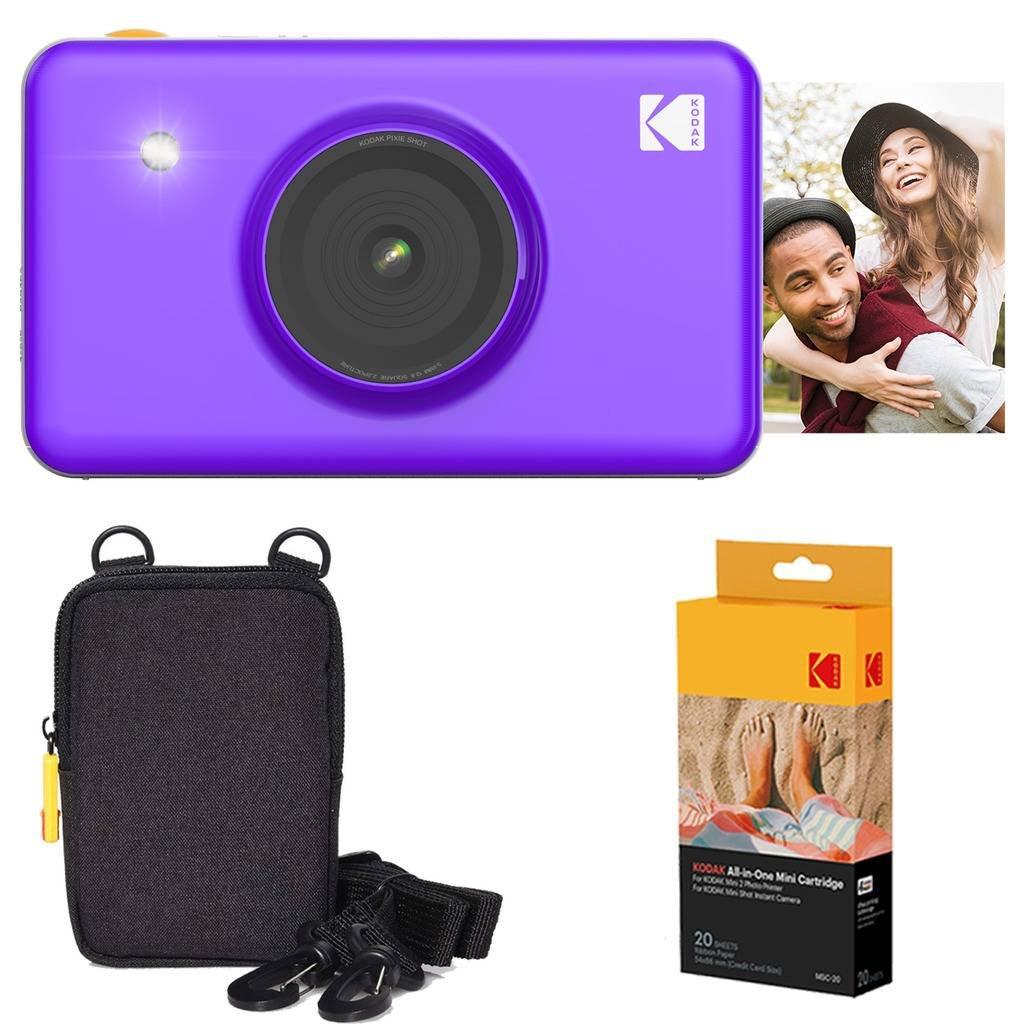 Kodak Mini Shot Instant Camera (Purple) Basic Bundle + Paper (20 Sheets) + Deluxe Case