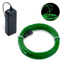 Lysignal 16ft Neon Glowing Strobing Electroluminescent Light Super Bright Battery Operated EL Wire Cable for Cosplay Dress Festival Halloween Christmas Party Carnival Decoration (Emerald Green)