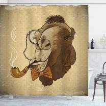 "Ambesonne Animal Shower Curtain, Pop Art Hipster Camel with Pipe and Monocle Vintage Humor Fun Cool Graphic, Cloth Fabric Bathroom Decor Set with Hooks, 70"" Long, Brown Tan"