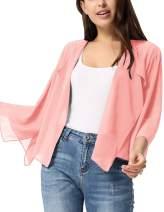 Kate Kasin Women Summer Cardigans Chiffon Loose Kimono Cardigan Capes Bolero Shrug