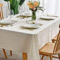 maxmill Jacquard Tablecloth Damask Design Water Resistance Antiwrinkle Oil Proof Heavy Weight Soft Table Cloth for Buffet Banquet Parties Event Holiday Dinner Rectangle 60 x 84 Inch Beige