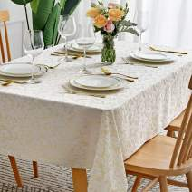 maxmill Jacquard Table Cloth Damask Pattern Spillproof Wrinkle Resistant Oil Proof Heavy Weight Soft Tablecloth for Kitchen Dinning Tabletop Outdoor Picnic Rectangle 52 x 70 Inch Beige