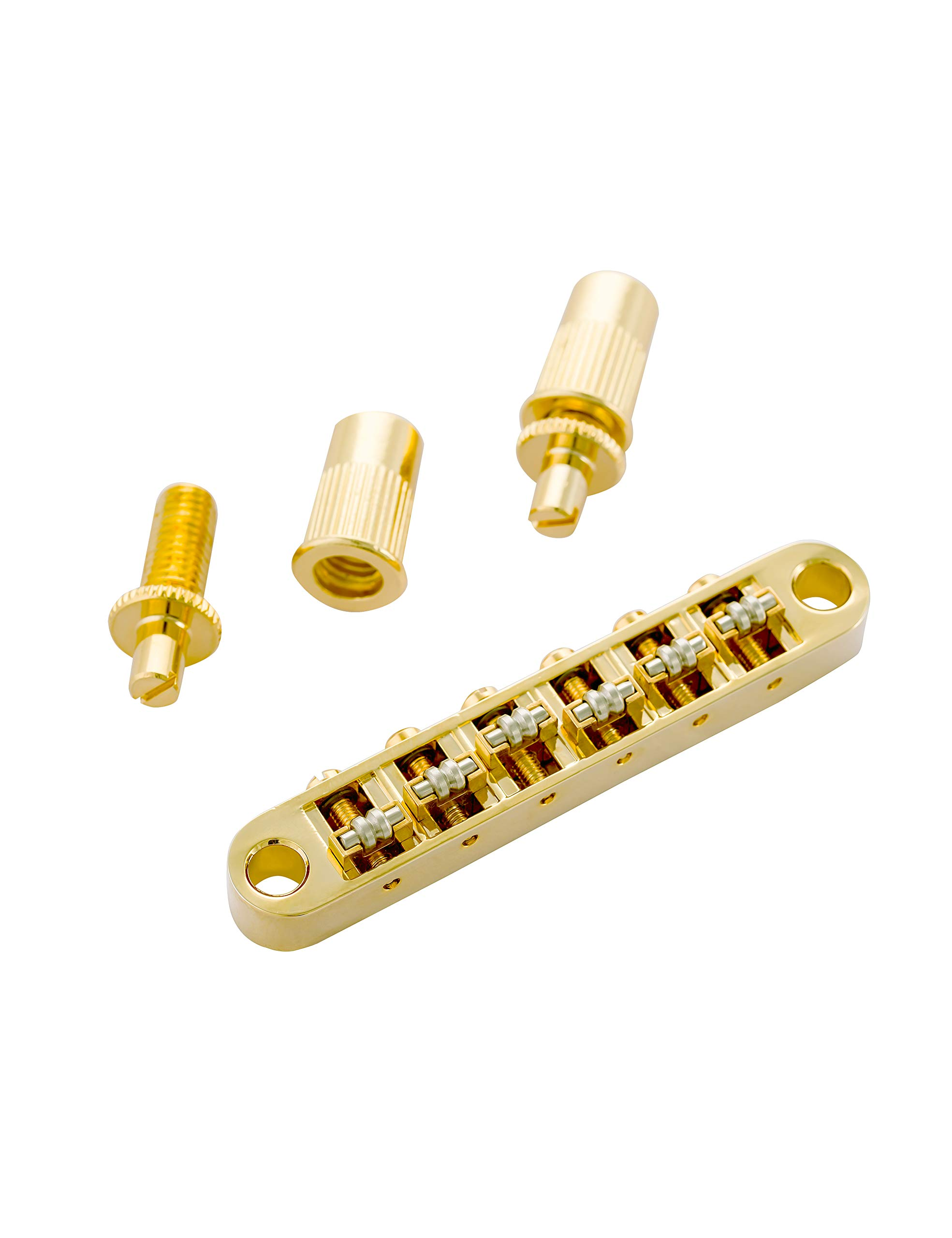 Guyker Guitar Tune-O-Matic Roller Saddle Bridge for Gibson EPI Les Paul LP SG Style 6 String ElectricGuitar Replacement Part - Golden
