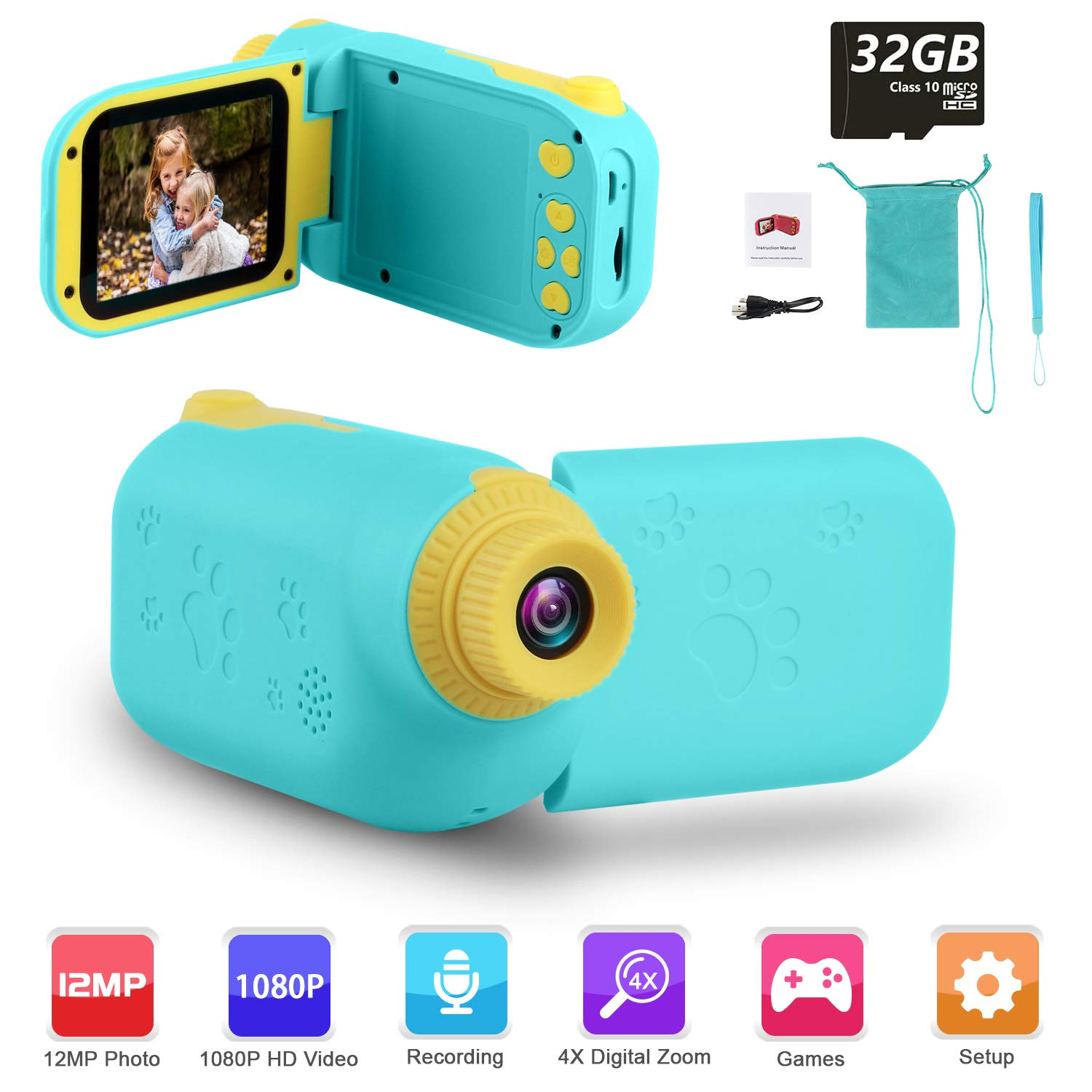 """GKTZ Video Camera Camcorder Digital for Kids, Children's Toys DV Cameras Recorder with 2.4"""" 1080P FHD Screen for Age 3 -10 Year Old Boys Girls Birthday Gifts ,Including 32GB SD Card - Blue"""