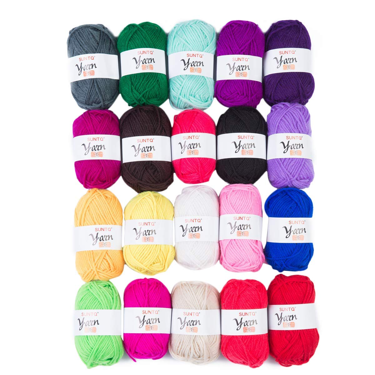 SUNTQ 100% Acrylic Yarn Skeins Bonbons Yarn Assorted Colors for Crochet & Knitting Assorted Rainbow Variety Colored Assortment (20g x 40m(About 43yard) x 20)