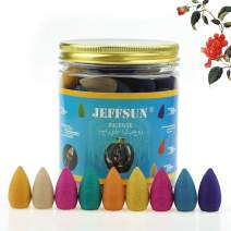 JEFFSUN 90 Pcs Backflow Incense Cones 9 Mixed Natural Fragrance Waterfall Incense Cones Rose Sandalwood Osmanthus Ocean Green Tea Cherry Blossoms Jasmine Lavender Tulip Incense Cones Backflow Scents