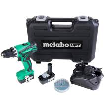 Metabo HPT Cordless Drill | 12V Peak | Includes 2-12V Lithium Ion Batteries | Carrying Case | 7 Piece Bit Set | Lifetime Tool Warranty (DS10DFL2)