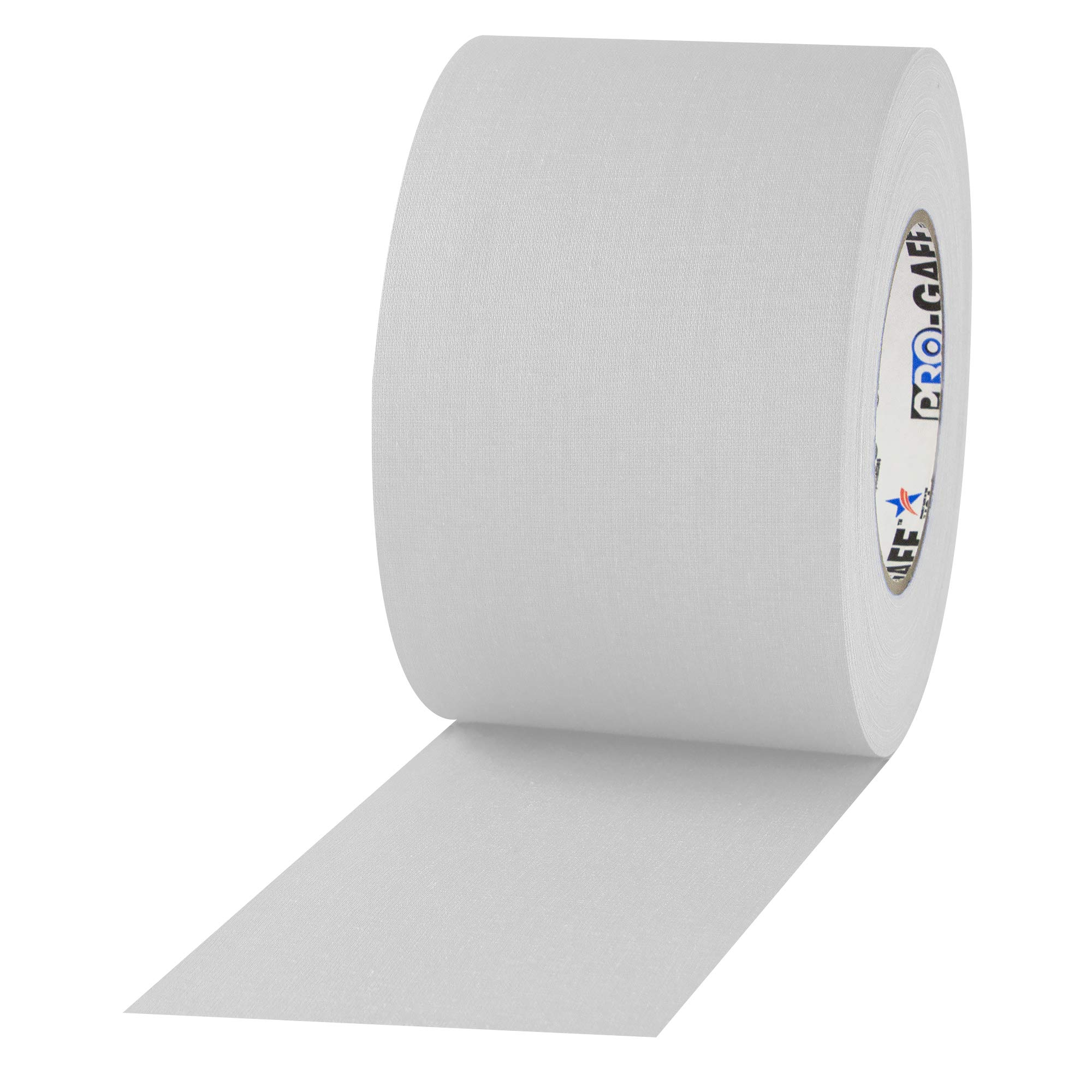 """4"""" Width ProTapes Pro Gaff Premium Matte Cloth Gaffer's Tape With Rubber Adhesive, 11 mils Thick, 55 yds Length, White (Pack of 1)"""