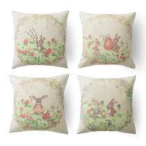 Xinrjojo Square 18X18 Inch Decorative Pillowcases Easter Vintage Victorian Easter Bunnies Giant Easter Egg Cotton Linen Throw Pillow Cover with Hidden Zipper for Bedroom Sofa Set of 4