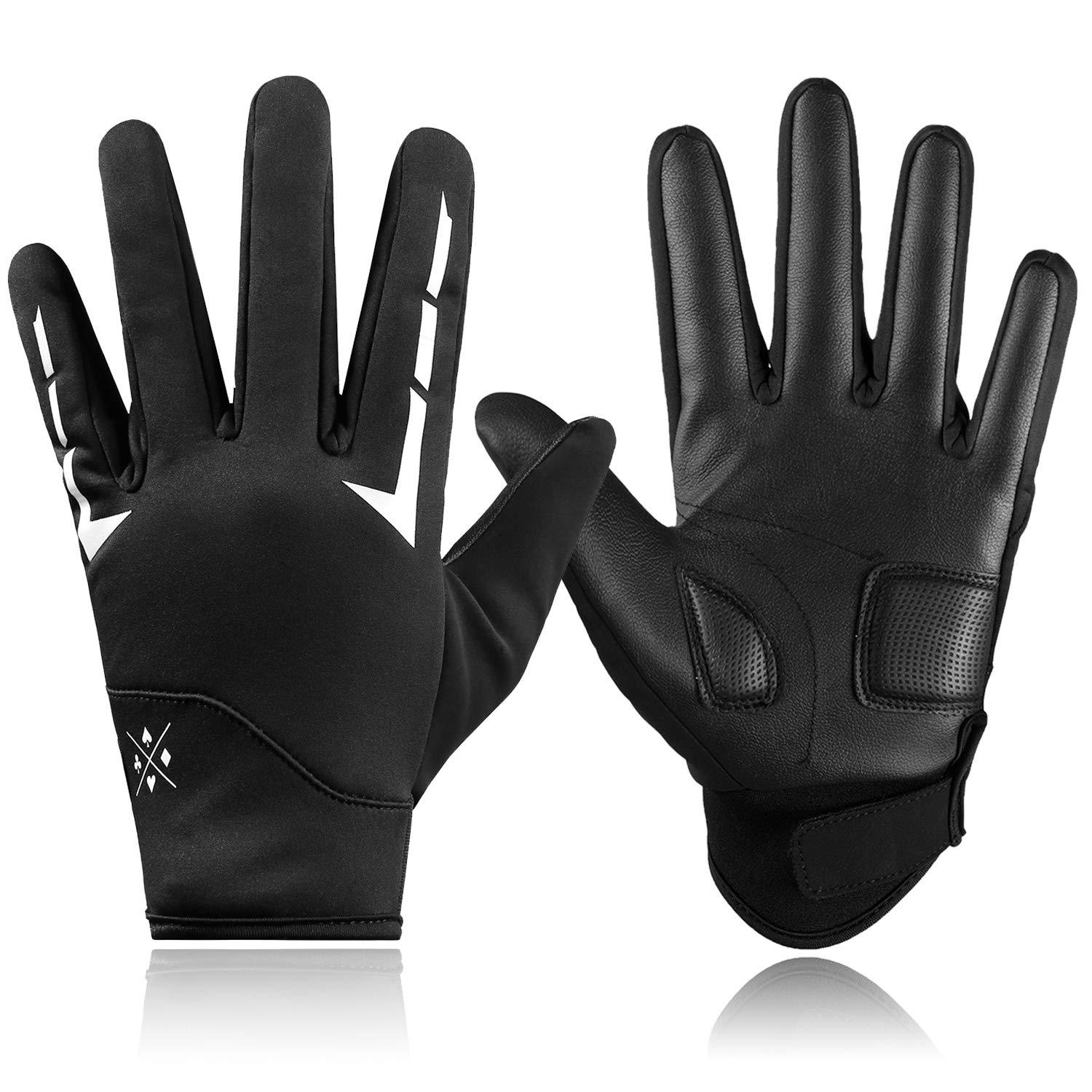 Letook Men's Padded Touch Screen PU Bike Gloves Waterproof Full Finger Cycling Riding Gloves