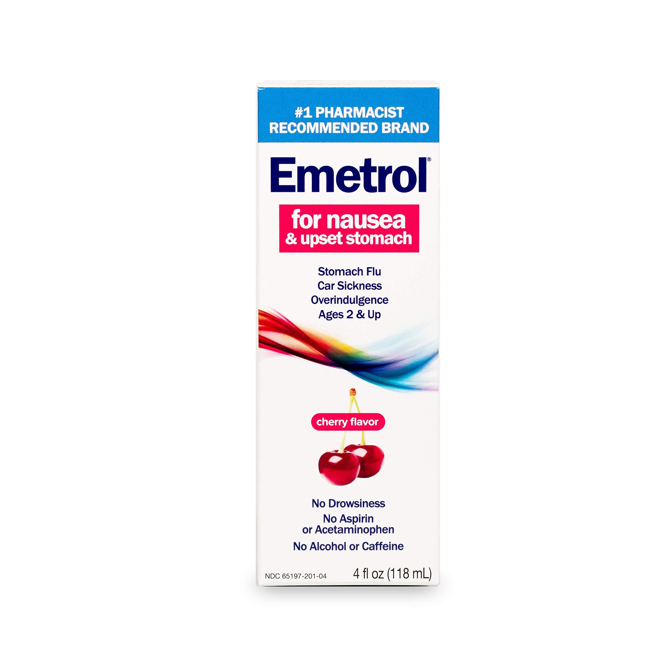 Emetrol Nausea and Upset Stomach Relief Liquid Medication, Cherry - 4 oz Bottle