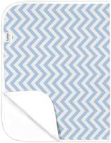 Kushies Deluxe Waterproof Changing Pad Liners - 20 x 30 inches Baby Changing Table Liners - Baby Changing Pads - Diaper Changing Flat Liner Pad Waterproof Portable (Blue Chevron)