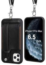 TOOVREN iPhone 11 Pro Max Wallet Case, iPhone 11 Pro Max Case Protective Cover with Leather PU Card Holder Adjustable Detachable iPhone Lanyard Stand Strap for iPhone 11 Pro Max 6.5 Inch 2019 Black