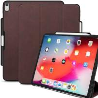 KHOMO iPad Pro 12.9 Inch Case 3rd Generation (Released 2018) with Pen Holder - Dual PU Leather Brown Super Slim Cover - Support Pencil Charging