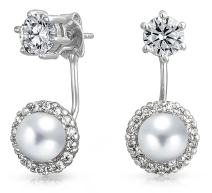 Simulated Pearl or Turquoise Cubic Zirconia Round Halo CZ Front Back Ear Jacket Stud Earrings For Women Silver Plated