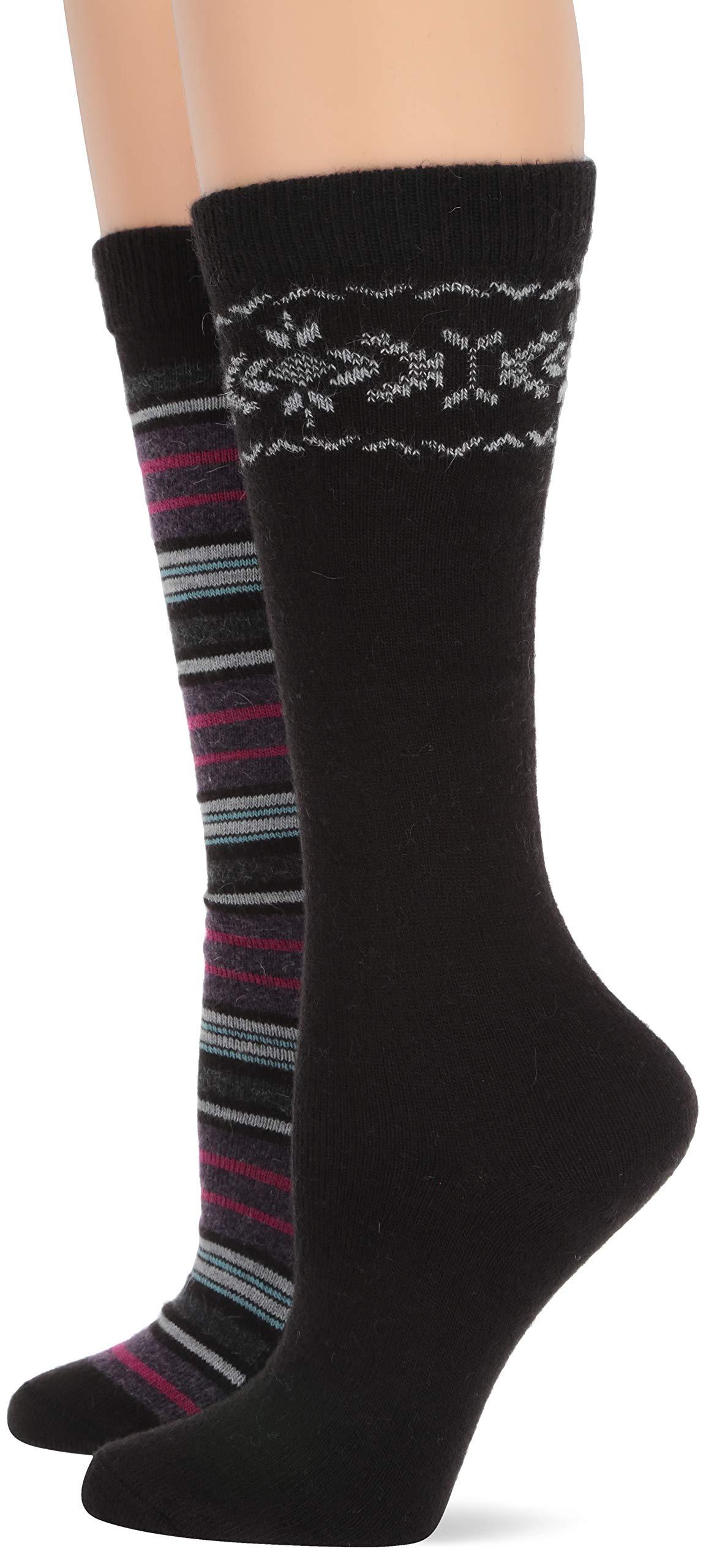 Wise Blend Women's Soft Angora Pattern Stripe Knee High Socks 2 Pair Pack