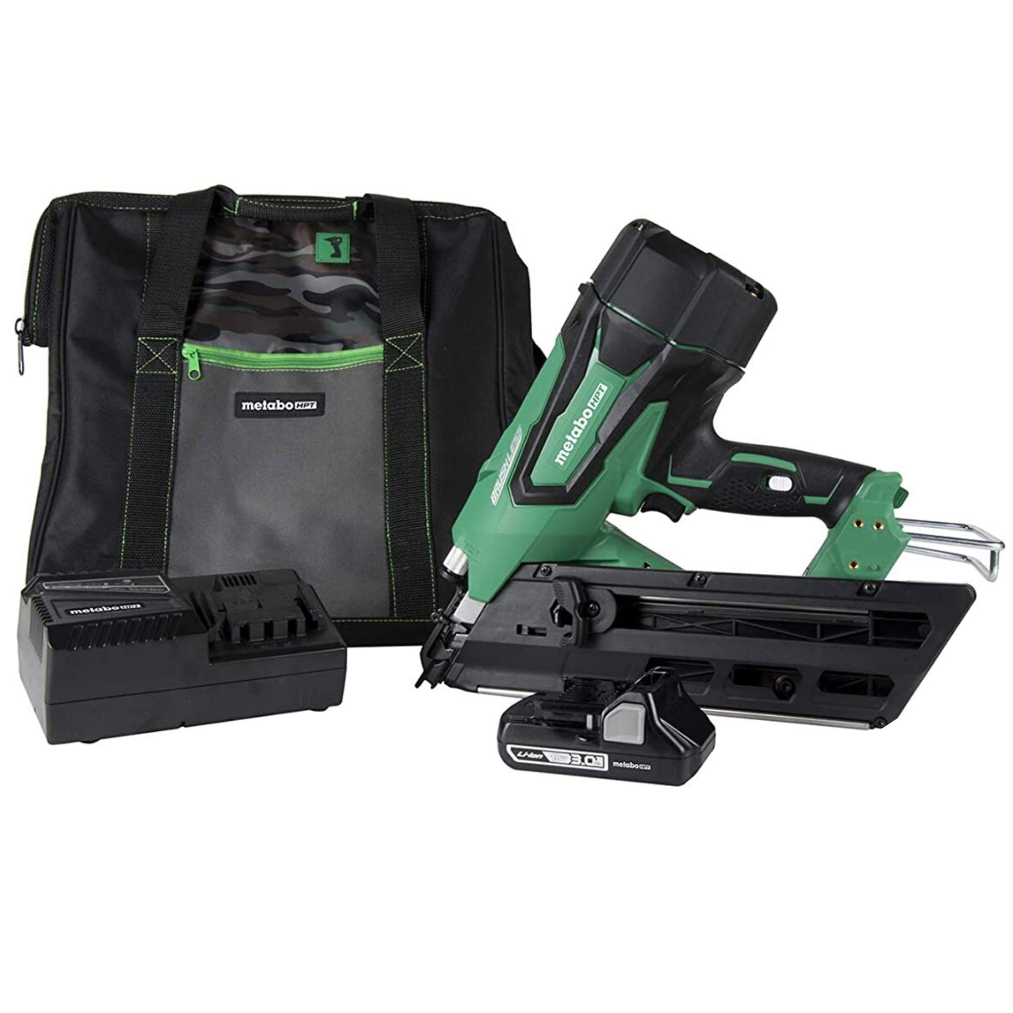 """Metabo HPT NR1890DC 18V Cordless Framing Nailer, Brushless Motor, 2"""" up to 3-1/2"""" Clipped & Offset Round Paper Strip Nails, 30 Degree Magazine, 3.0 Ah Lithium Ion Battery, Lifetime Tool Warranty"""