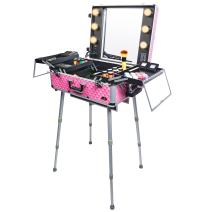 SHANY Studio ToGo Wheeled Trolley Makeup Case & Organizer with Light - Pink