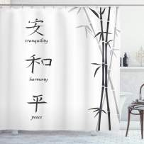 """Ambesonne Bamboo Shower Curtain, Illustration of Chinese for Tranquility Harmony Peace with Bamboo Pattern, Cloth Fabric Bathroom Decor Set with Hooks, 75"""" Long, Charcoal White"""