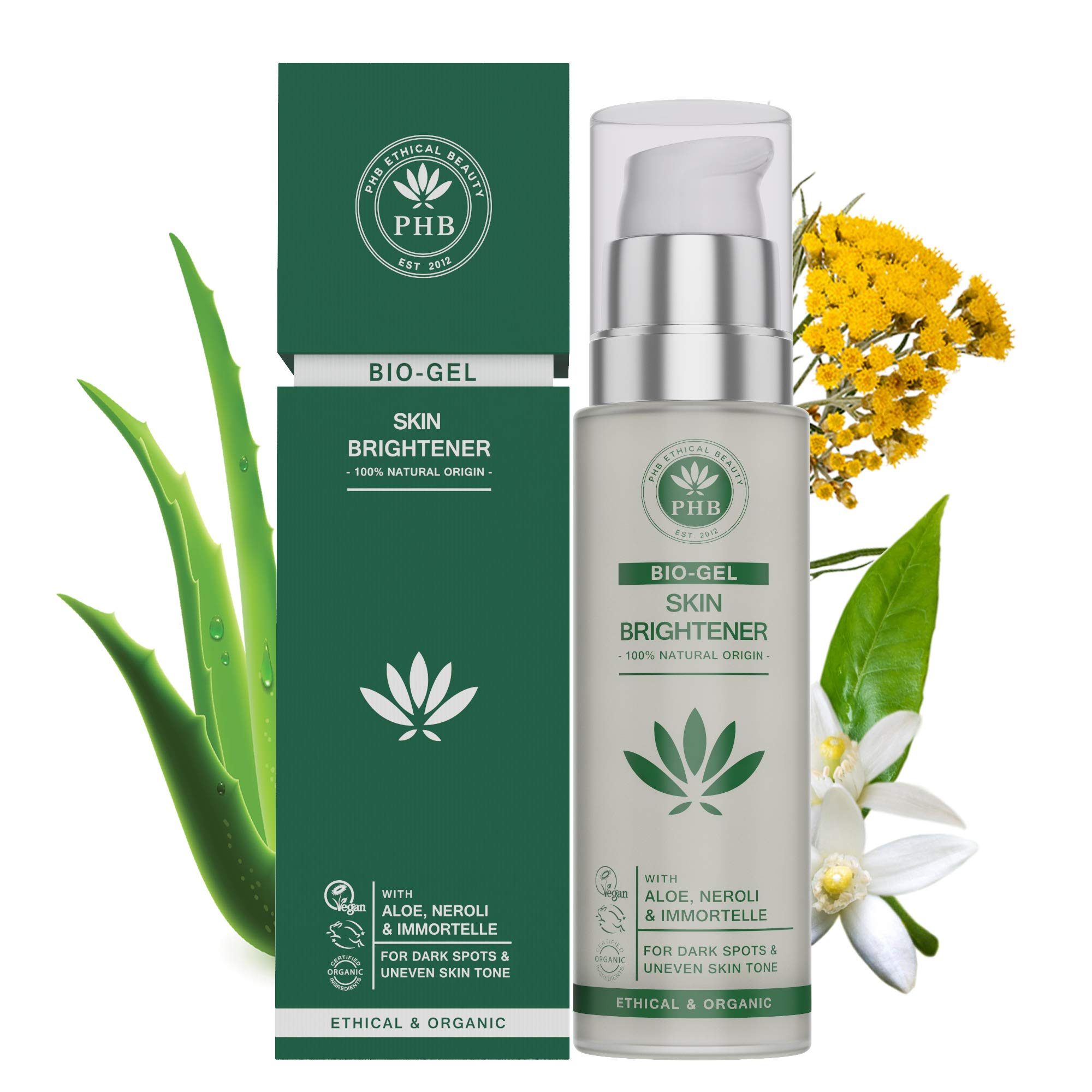 PHB's Skin Lightening Bio Gel with Aloe Vera for Dark Spots on Face and Body. 100% Natural and Organic Ingredients for Sensitive Skin Types. 50ml