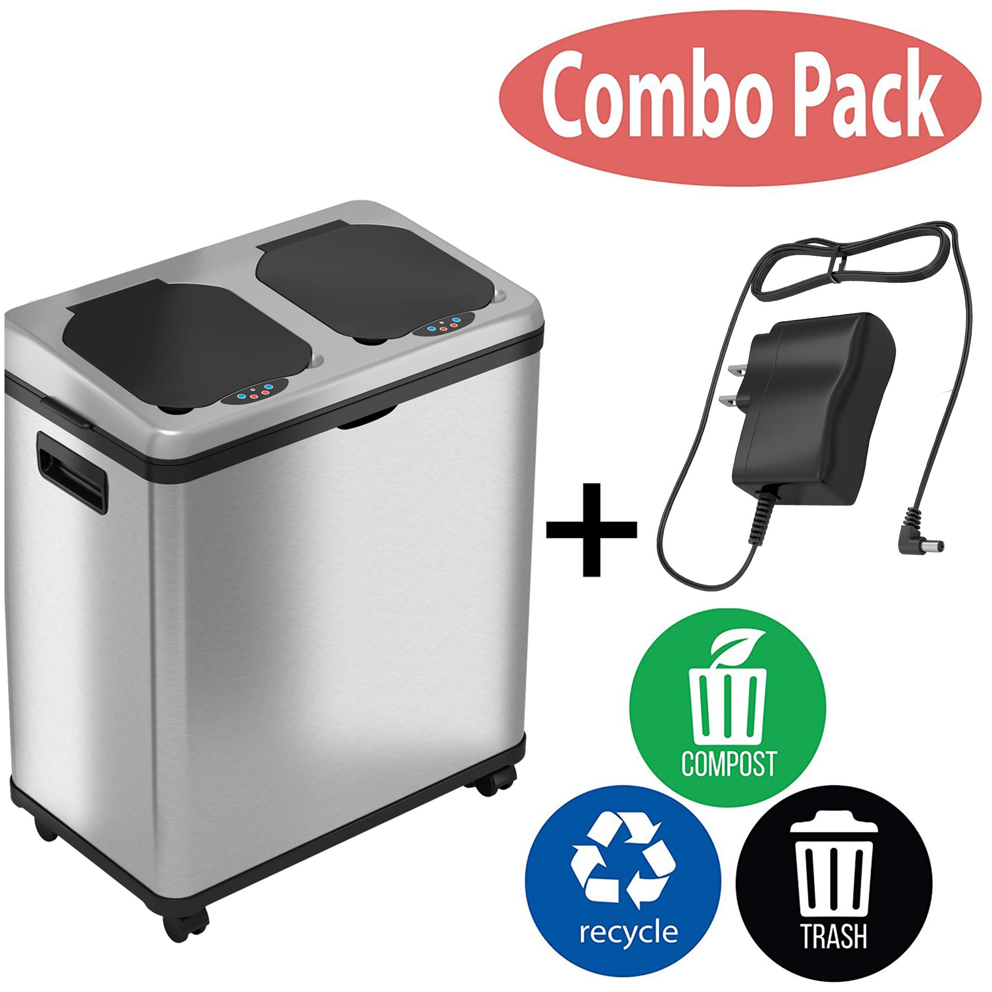 iTouchless 16 Gallon Touchless Trash Can and Recycle Bin Combo Unit Adapter, 2 X 8 Gallon Removable Buckets with Handles, 61 Liters, Stainless Steel, with AC and Decals