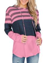 Aleumdr Womens Color Block Sweatshirts Long Sleeve Striped Drawstring Hoodies Pullover S-XXL