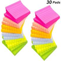 30 Pack Lined Sticky Notes 3x3 Bulk, Bright Colorful Sticky Notes with Lines, Super Sticking Power Stickies Strong Adhesive, 80 Sheets/Pad, Easy Post Notes for Study, Works, Office