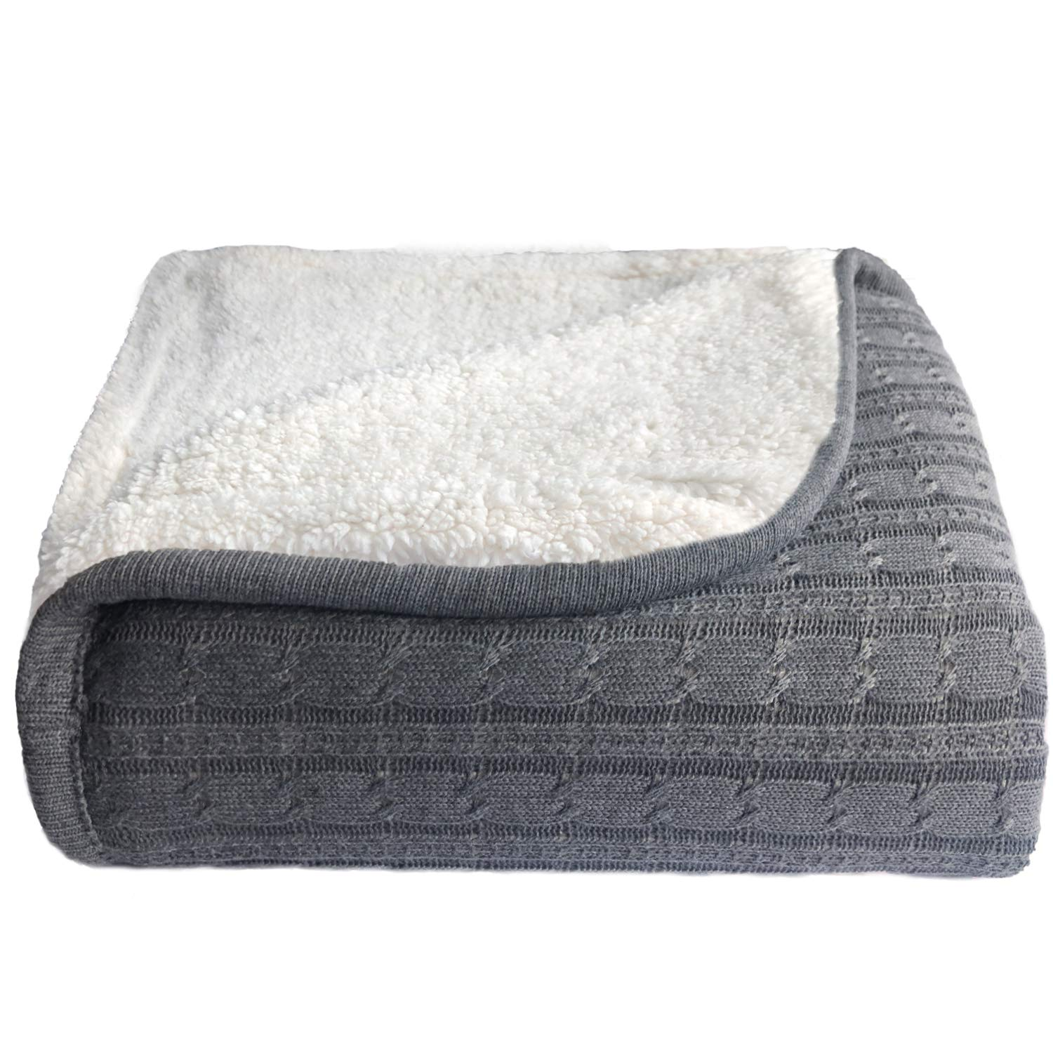 NEWCOSPLAY Cable Knit Sherpa Throw Reversible Warm Cozy Sweater Blanket for Bed Couch All Season Use (Knit-Grey, Throw)