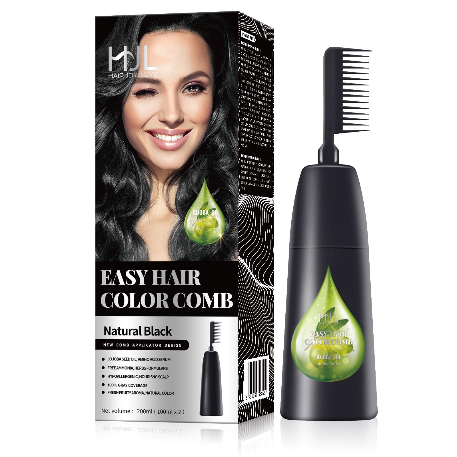 HJL Hair Color Ammonia-Free with Comb Applicator 100% Gray Coverage Hair Dye Cream Hair Coloring Kit, Natural Black, Pack of 1