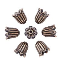 Pandahall 20pcs Tibetan Style Alloy Flower Bead Caps Large Beads Spacers Jewelry Makings 10x10mm Cadmium Free & Lead Free & Nickel Free Red Copper
