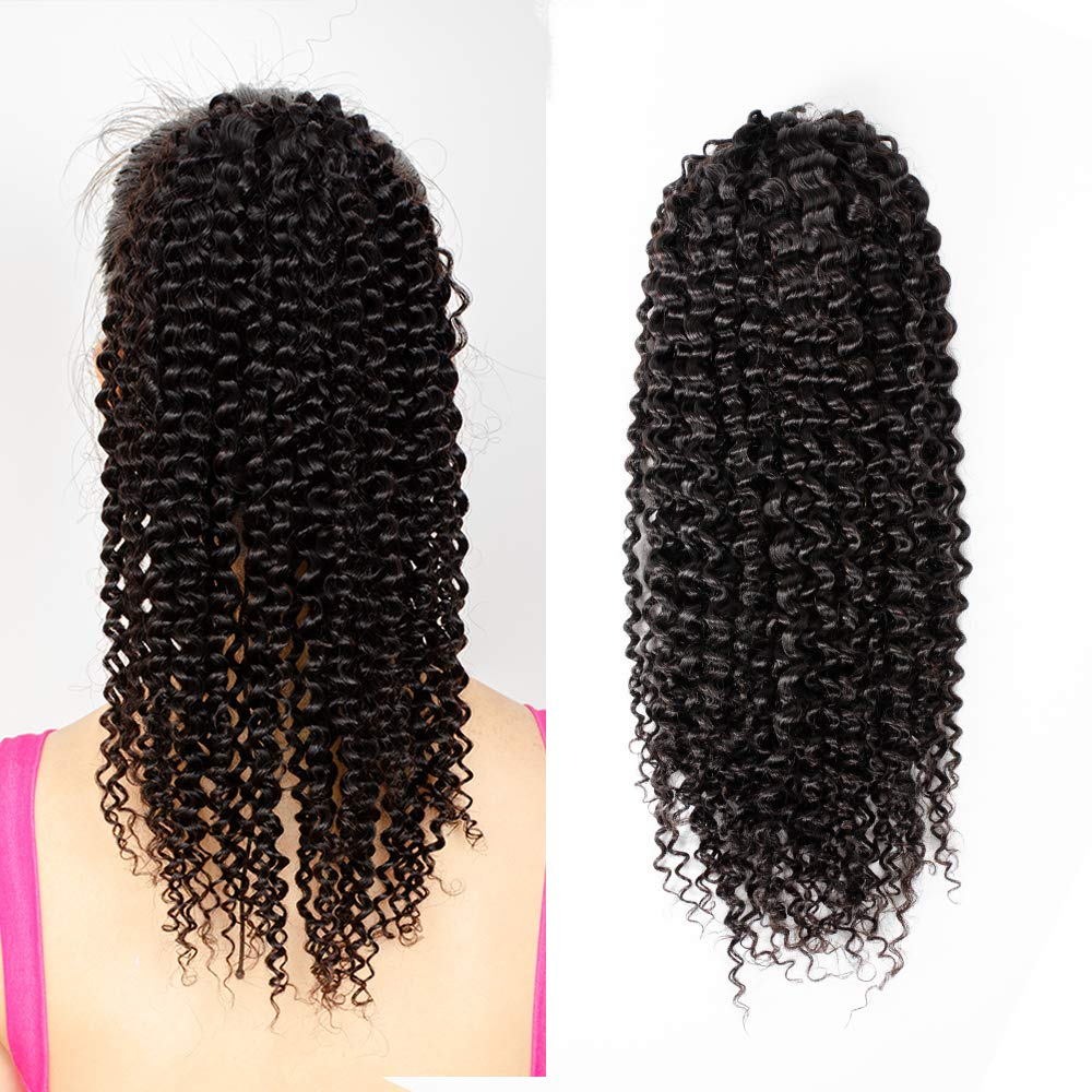 Yepei Curly Human Hair Ponytail Extension 8A Brazilian Kinky Curly Wave Black Drawstring Pony Tail Real Hair Pieces For Women Or Girl Clip In Weave Ponytails (14 inch, Curly Drawstring Ponytail)