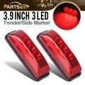 """Partsam Pair 3.9"""" Side Marker & Clearance Light Red Waterproof Black Base Mount 3LED, Sealed Thin Line LED Trailer Marker Clearance or ID Lights w/Miro-Reflectors"""