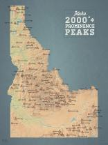 Idaho 2000' Prominence Peaks Map 18x24 Poster (Natural Earth)
