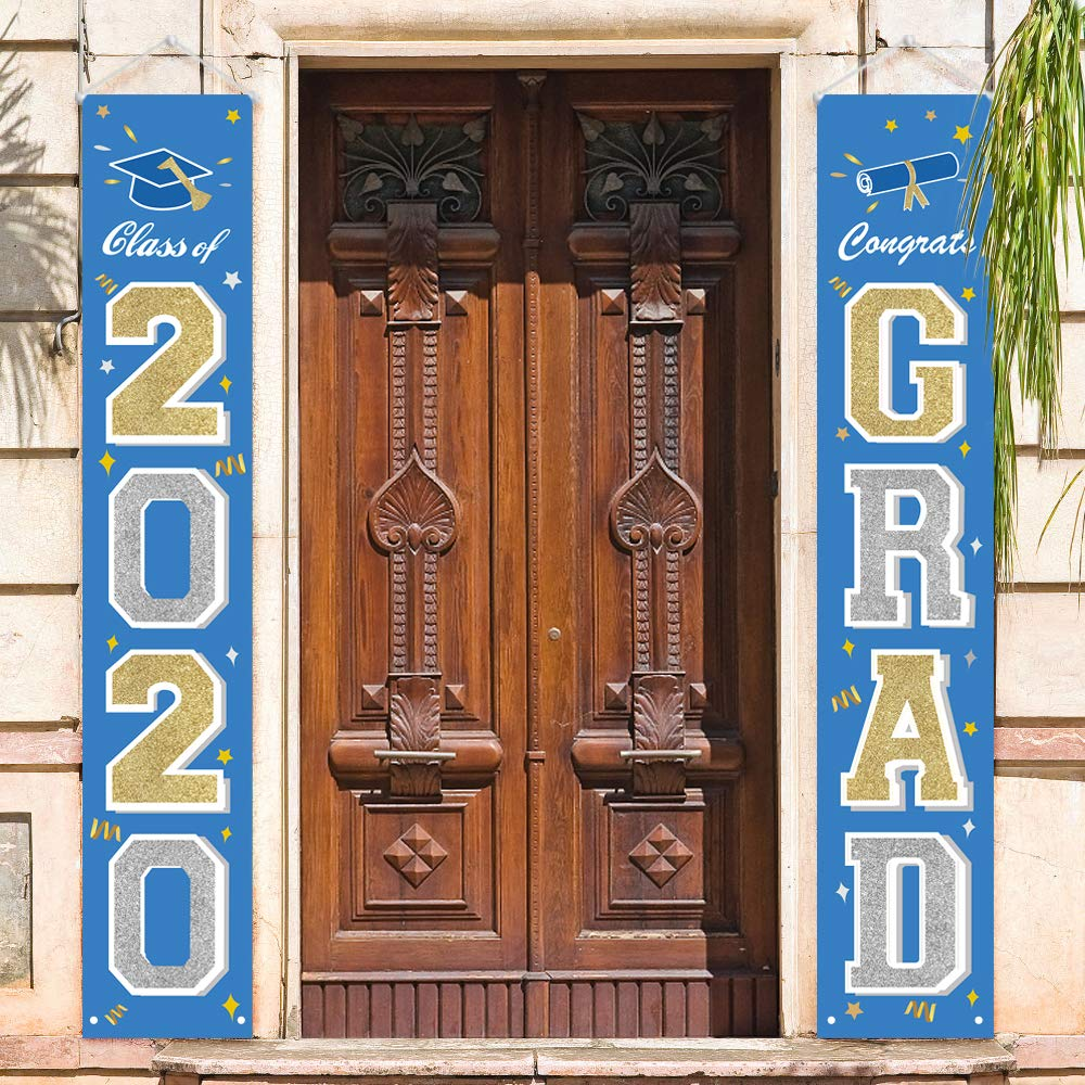 ORIENTAL CHERRY GraduationDecorations2020 - Class of 2020 Graduation Party Supplies - Hanging Flags Banners Signs Outdoor Home Door Porch Décor - Blue Silver Gold