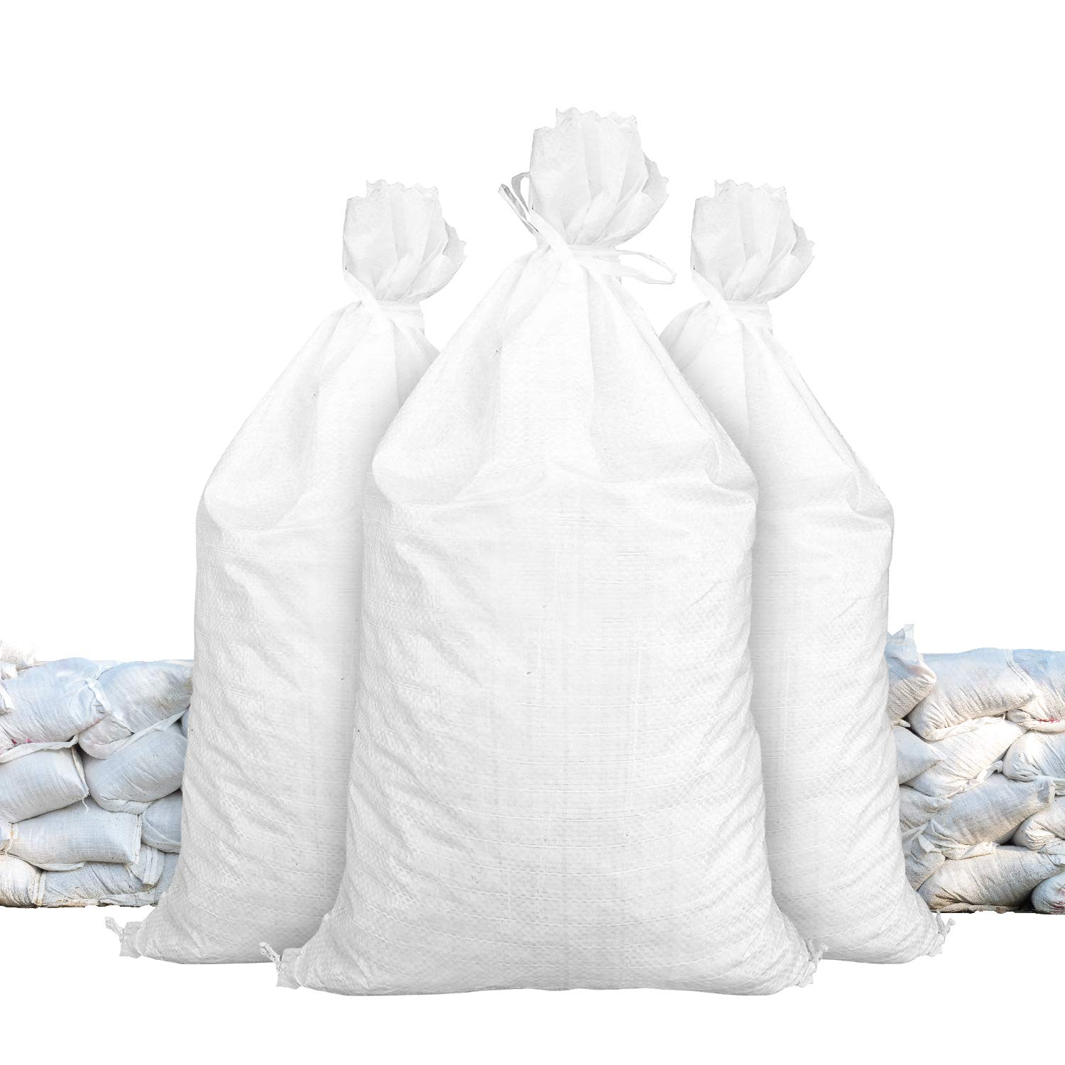 """Sandbags for Flooding - Size: 18"""" x 30"""" - Color: White - Sand Bag - Flood Water Barrier - Water Curb - Tent Sandbags - Store Bags by Sandbaggy (1000 Bags)"""