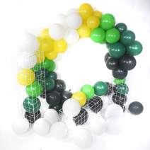 PartyWoo Football Party Supplies, 75 pcs 12 Inch Green Balloons Black Balloons White Balloons Yellow Balloons for Soccer Party, Jungle Birthday Party, Zoo Party, Green Baby Shower