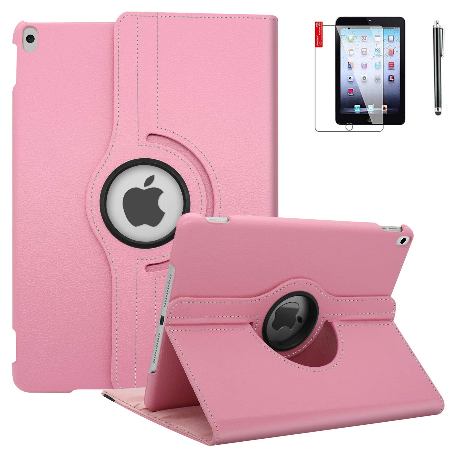 NEWQIANG iPad 6th Generation Cases with Bonus Screen Protector and Stylus - iPad 9.7 inch Air1 2018 2017 Case Cover - 360 Degree Rotating Stand, Auto Sleep Wake - A1822 A1823 (Light Pink)